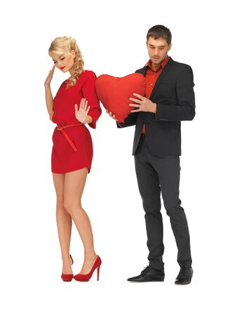 bright picture of beautiful couple holding big heart photo