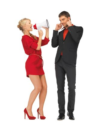 bright picture of beautiful couple with megaphone photo