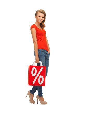 picture of teenage girl in red t-shirt with shopping bag Stock Photo - 16880153