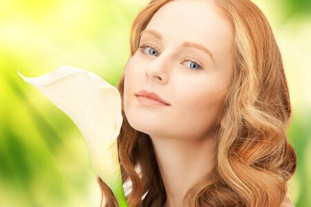 picture of beautiful woman with calla flower Stock Photo - 16955174