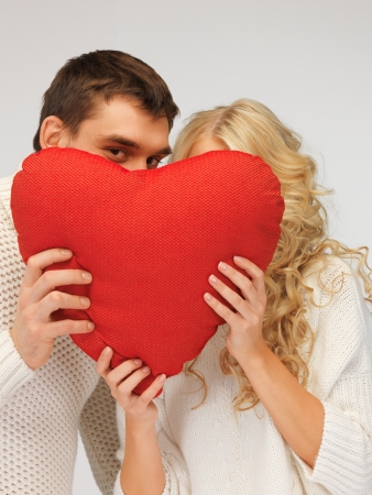 picture of family couple in a sweaters with heart Stock Photo - 16948605