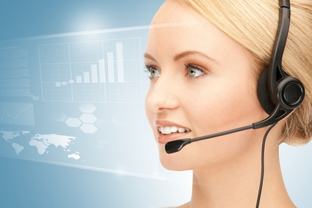 assistant: bright picture of friendly female helpline operator