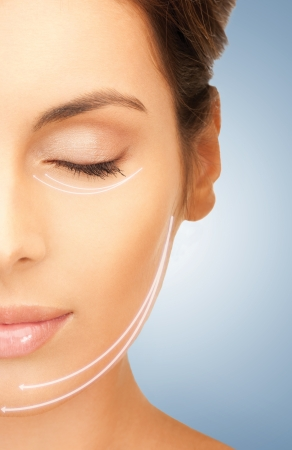 face lift: picture of beautiful woman ready for cosmetic surgery Stock Photo