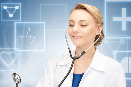 picture of attractive female doctor with stethoscope  photo