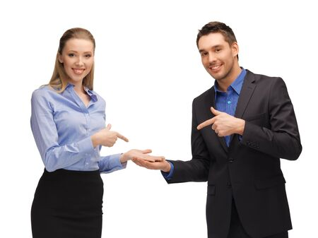 bright picture of man and woman showing something on the palms photo