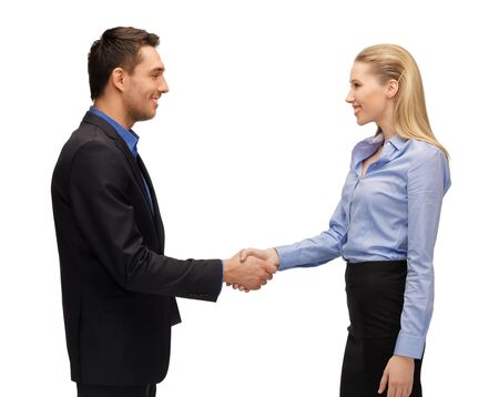 bright picture of man and woman shaking their hands Stock Photo - 16937641