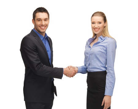 bright picture of man and woman shaking their hands  photo