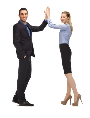 five people: bright picture of man and woman giving a high five  Stock Photo