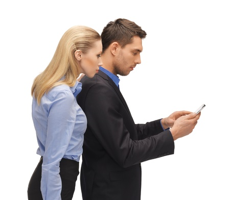 bright picture of man and woman reading sms photo