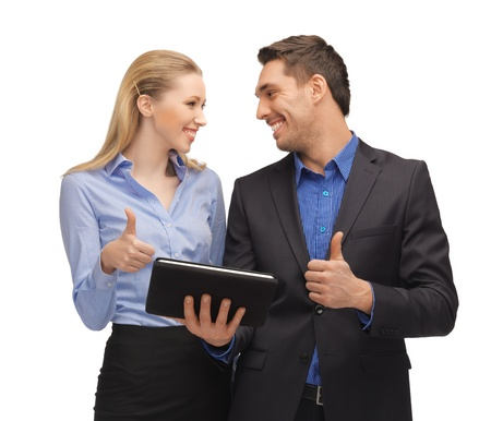 bright picture of man and woman with tablet pc  Stock Photo - 16937604