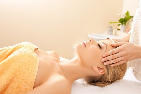 picture of calm beautiful woman in massage salon Stock Photo - 16937599