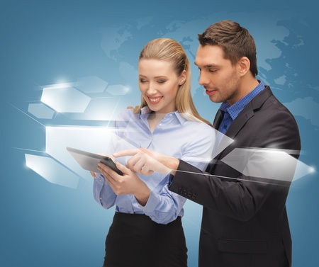 bright picture of man and woman with virtual screens Stock Photo - 16937601