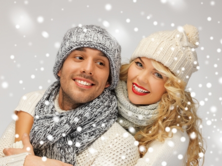 bright picture of family couple in a winter clothes photo