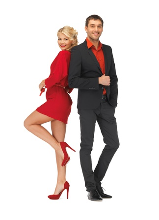 traje de gala: brillante imagen de hombre guapo y mujer encantadora