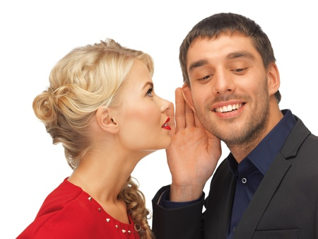 blab: bright picture of man and woman spreading gossip  focus on man  Stock Photo
