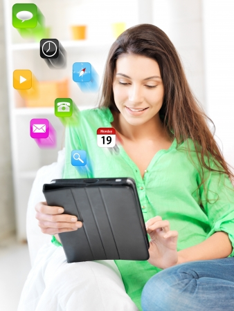 picture of happy woman with tablet pc computer Stock Photo - 16960515