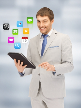 picture of happy man with tablet pc computer Stock Photo - 16960665