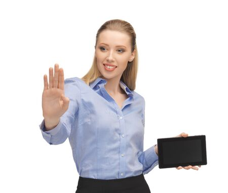 bright picture of woman working with tablet pc photo