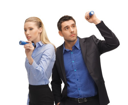 serious guy: bright picture of man and woman with flashlights  Stock Photo
