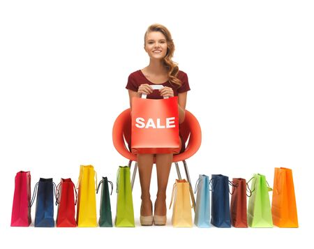 picture of teenage girl in red dress with shopping bags Stock Photo - 16960533