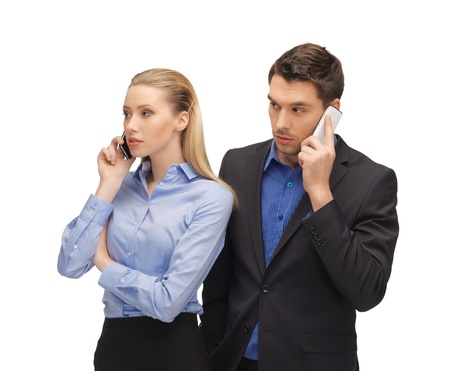 picture of man and woman with cell phones Stock Photo - 16972421
