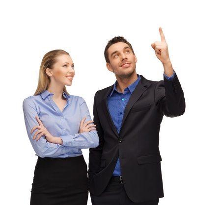 bright picture of man and woman pointing their fingers  photo