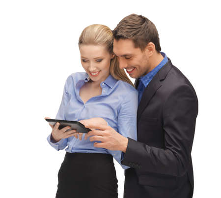bright picture of man and woman with tablet pc Stock Photo - 16972416