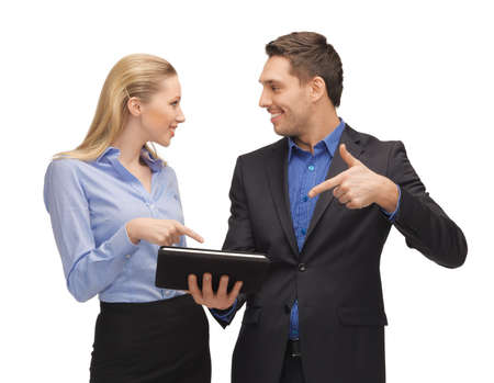 bright picture of man and woman with tablet pc Stock Photo - 16972427