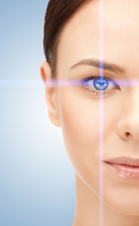 ojos: imagen de hermosa mujer apuntando a los ojos