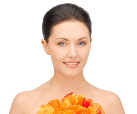 picture of lovely woman with red flowers Stock Photo - 17039685