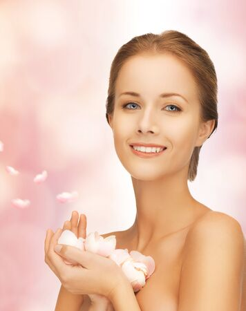 picture of beautiful woman with rose petals Stock Photo - 17038983