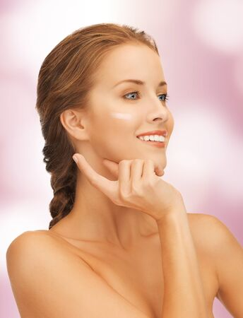 picture of beautiful woman with moisturizing creme drop Stock Photo - 17038925