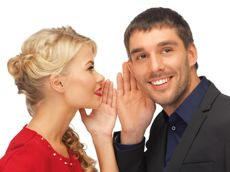 bright picture of man and woman spreading gossip  focus on man Stock Photo - 17038940