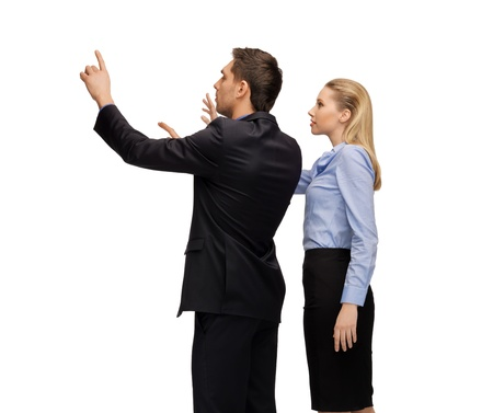 imaginary: picture of man and woman working with something imaginary  Stock Photo
