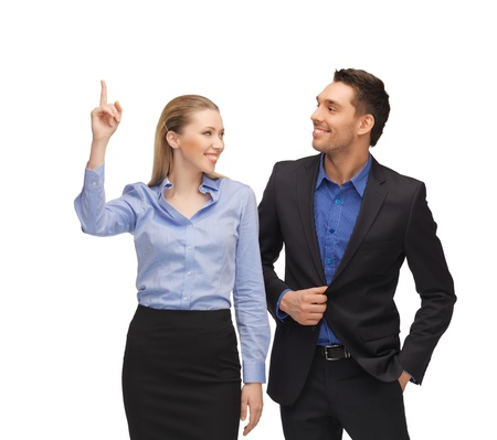 bright picture of man and woman pointing their fingers  Stock Photo - 17038975