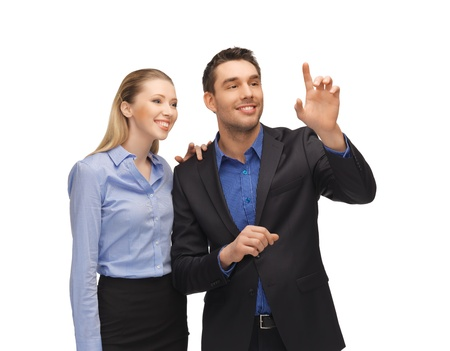 picture of man and woman working with something imaginary Stock Photo - 17038952