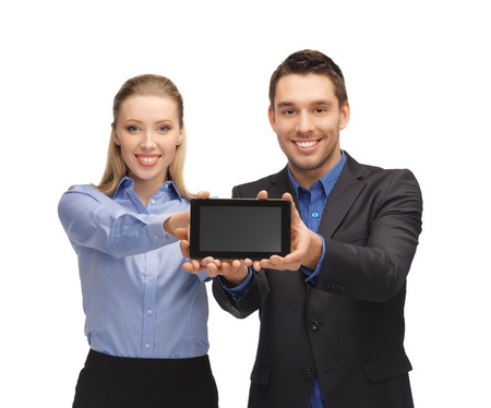 bright picture of man and woman with tablet pc Stock Photo - 17039710