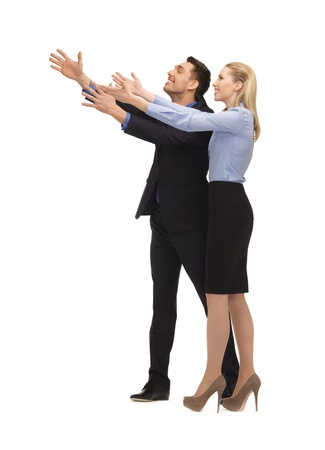 picture of man and woman making a greeting gesture Stock Photo - 17038630