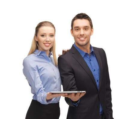 bright picture of man and woman with tablet pc  Stock Photo - 17038951