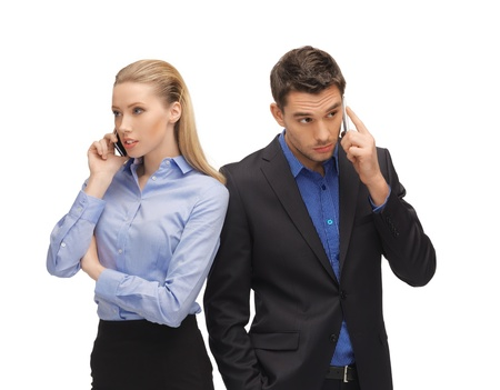 picture of man and woman with cell phones Stock Photo - 17038985