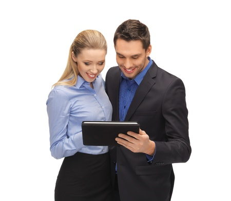 bright picture of man and woman with tablet pc Stock Photo - 17039706