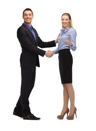 bright picture of man and woman shaking their hands  Stock Photo - 17038633