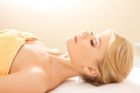 picture of beautiful woman in spa salon photo