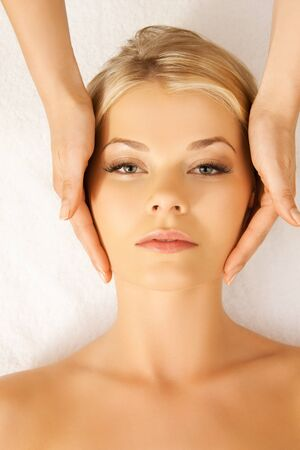 picture of calm beautiful woman in massage salon Stock Photo - 17038926