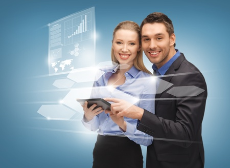 bright picture of man and woman with virtual screens Stock Photo - 17038949