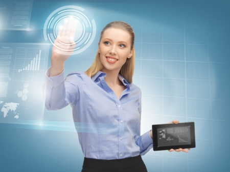 bright picture of woman working with virtual tablet pc Stock Photo - 17038938