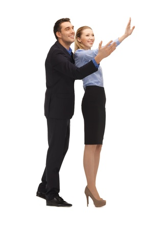 picture of man and woman making a greeting gesture  Stock Photo - 17055259