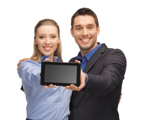 education technology: bright picture of man and woman with tablet pc  Stock Photo