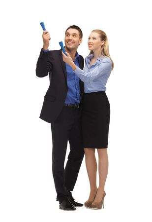 searh: bright picture of man and woman with flashlights  Stock Photo