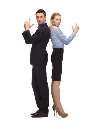 bright picture of man and woman making a gun gesture Stock Photo - 17093158